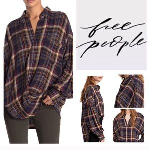 New❗️FREE PEOPLE Plaid shirt size small navy